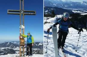 """Bereits acht Wochen nach der Implantation eines künstlichen Kniegelenks genoss Dr. Silvie Lassmann die erste Skitour auf ihrem Hausberg """"Schlenken""""."""