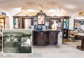 """3 Verkaufsraum der Apotheke """"Zum Schwarzen Adler"""" in den 1920er-Jahren. / 4 Bis heute hat sich die Adler-Apotheke durch die gediegene Inneneinrichtung ihren historischen Charme bewahrt."""