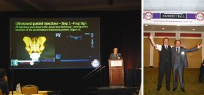 links: Dr. Stelzer bei der Präsentation seiner Studie / rechts: Dr. Stelzer Wolfgang und Univ.-Ass. Dr. Feigl Georg- SchmerzLOS Research in New Orleans