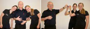 Schulterparty in der Linzer Sporttherapie: Schultern zum Anlehnen / Dr. Markus Limberger mit Anja Oyrer und Theresa Stöbich beim ultimativen Parktickettest