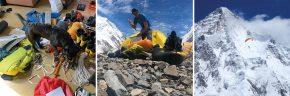 Zusammenpacken vor der Abreise / Basecamp am K2 / Max Berger beim Flug vom Broad Peak, im Hintergrund der K2