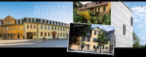 Von links nach rechts: Goethe-Nationalmuseum (Foto: Klassik Stiftung Weimar / Alexander Burzik), Goethes Garten, Schillers Wohnhaus (Fotos: Maik Schuck), Bauhaus-Museum Weimar (Foto: Thomas Müller GmbH)